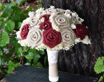 Wedding Bouquet Maroon Bouquet Burlap Bouquet Burgundy Bouquet Rustic Bouquet Maroon Bouquet Fall Bouquet Burgundy Bouquet Burlap Bouquet