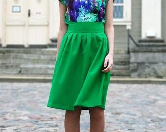 Womens Skirt, Flared Skirt, Pattern Skirt, Summer Skirt, Party Skirt, Green Skirt, Boho Skirt, Fashion Skirt, Bridesmaid Skirt, Dance Skirt