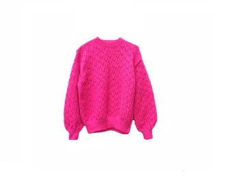 Vintage Fuschia Jumper - Hand Knitted - Small