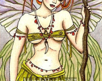 ACEO ORIGINAL 'Warrior Faerie', fairy art, faery artwork, warrior woman, bright red hair, ginger, Ooak ATC, Luminance colored pencil drawing