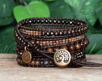 Stone and Leather Beaded Five Wrap Bracelet, Pietersite Bronzite and Hematite Wrap, Gemstone and Crystal Jewelry, Earthy Bohemian Wrap