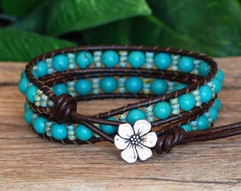 Beaded Leather Double Wrap Bracelet, Turquoise Stone and Brown Leather Wrap, Howlite and Miyuki Seed Bead Bracelet, Bohemian Bracelet