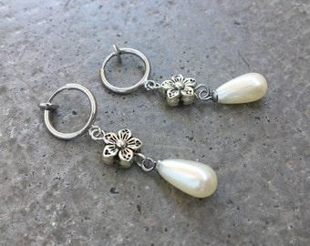 Earrings flower silver metal CLIPS, White Pearl water drop