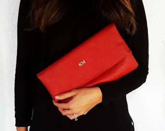 Embossed Monogram Faux Leather Foldover Clutch | Handbag | Purse , Perfect Bridesmaid/Graduation/Mothers Day Gift!