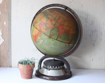 Antique Replogle Clockwork Base Globe, 1930's Time Zone Shortwave Radio Globe