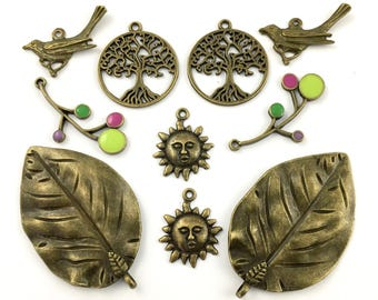 10 tree leaves charms bronze tone and enamel ,24mm to 52mm #CH 261