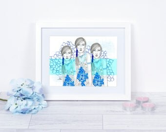 Bora Aksu Trio / Fashion Illustration / Fashion Print / Bora Asku