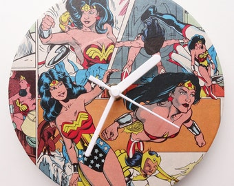 Wonder Woman Comic Collage Clock