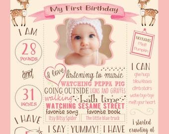 Woodland first birthday poster, Deer birthday sign, First Birthday sign, DIGITAL FILE