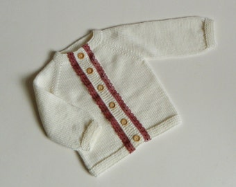 White baby girl sweater burgundy lace sweater merino wool baby cardigan knitted  sweater MADE TO ORDER
