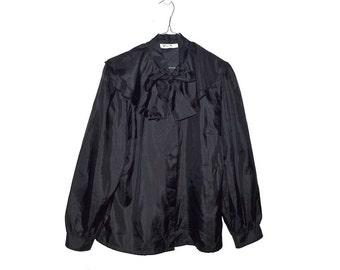 Black Ruffle Collar Bow Blouse Vintage Victorian Style Gothic Plus Size Large L XL
