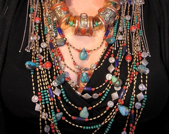Vintage Style Tibetan Coral  Necklace - Ethnic Statement Boho Tribal Necklace