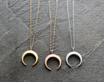 Gold Crescent Necklace - Rose Gold Crescent Necklace - Moon Necklace - Silver Crescent Necklace - Double Horn Necklace - Tusk Necklace -