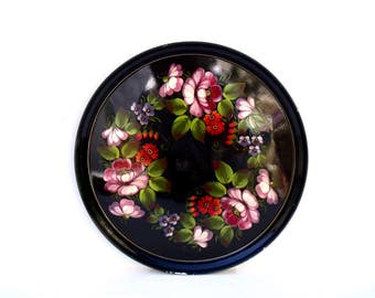 French Vintage Metal Circular round Tea tray Peonies & Violets on Black Tray 1950's Toleware