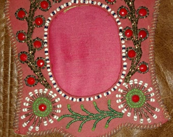 old Native American RED beaded photo picture frame