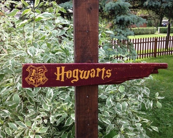 Hogwarts Distressed Wooden Directional Sign