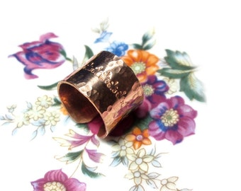 Wider open copper Fleur de Lis Gr. 18-19, copper ring ring hammered US size 8.0 9.1