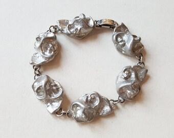 Modernist pewter nugget bracelet, BörjeTennung, Sweden (F721)