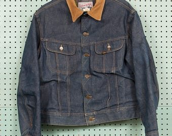 Vintage 70s Lee Storm Rider Denim Trucker Jacket Size L/XL 42R Made in USA Biker Blanket Lined Corduroy Collar