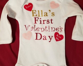First Valentine's – Baby's First Valentine's day – Custom baby gift - 1st Valentine's Day -baby shower gift -conversation hearts