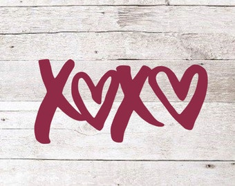 Xoxo vinyl decal | valentines decal | valentine's day | valentine | hugs and kisses | yeti decal