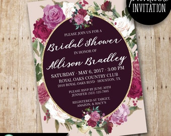 "Elegant Floral BRIDAL SHOWER Printable Invitation, Romantic Digital Wedding Shower 5x7"" Invite, Burgandy and Pink Flowers"