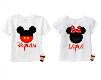 Mickey Mouse or Minnie Mouse T-Shirt Iron-on- Perfect for Birthdays, Sibling Tee's, Trip to Disney & more!