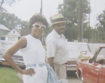 Stylish 1960's Young Black African American Couple Snapshot Photo - Free Shipping