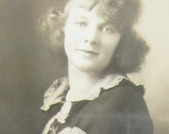 Soft 1920's Beautiful Woman With Curly Hair Studio Photograph - Free Shipping