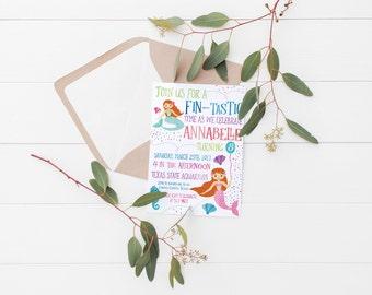 Printable Fin-tastic Kids Mermaid Birthday Invitation