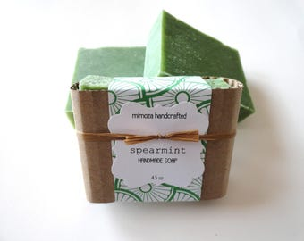 Handmade Spearmint Soap, Cold Process Soap, Vegan Soap 4.5oz