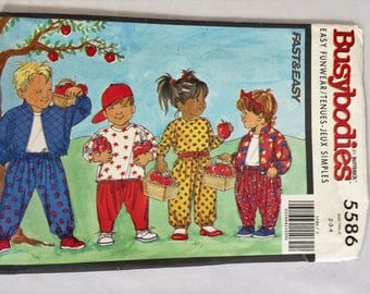 Vintage Butterick Busybodies Pattern Fast & Easy 5586 Size 2-4 Uncut 1996