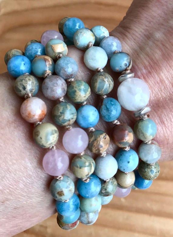 108 Mala Beads, Moonstone, African Opal, Aquamarine, Rose Quartz, Wrap Mala Bracelet,  Mala Necklace, Yoga Jewelry, Healing Mala Beads