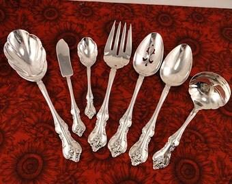 ORLEANS Serving Set Vintage 1964 Silver Plate International DeepSilver Hostess Group Gravy Casserole Spoon Pierced Tablespoon Meat Fork