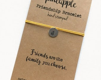 Friendship Bracelet PINEAPPLE  Hand Stamped silver disc ~ Waxed Cotton Cord ~ Friends are the family you choose ~ adjustable choose a color
