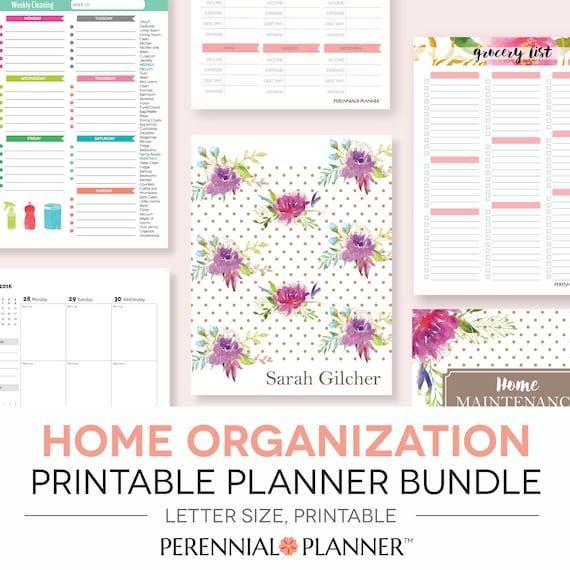 Home management binder printables planner editable letter for Home planning binder