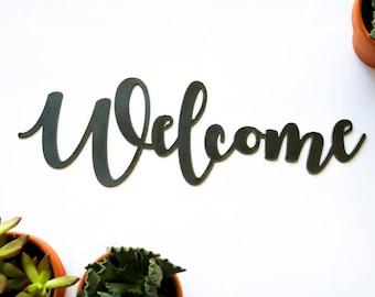 Welcome Metal Sign, Metal Wall Art, Wedding Gift, Inspirational, Metal Word, Rustic Word Art Sign, Cursive Word, Greetings, Welcome