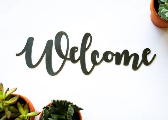 Welcome metal sign metal wall art wedding gift like this item negle Gallery