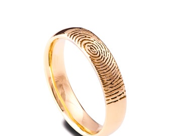 Fingerprint Wedding Band, 18K Rose Gold Fingerprint Ring, Fingerprint Ring , Wedding Band, Personalized Band, Personalized Ring