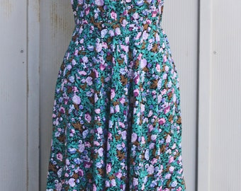 High Neck Floral Sundress - Colorful Flower Print Babydoll Dress - Sleeveless Summer Dress - Casual Folk Dress - Hipster Indie Dress - 90s