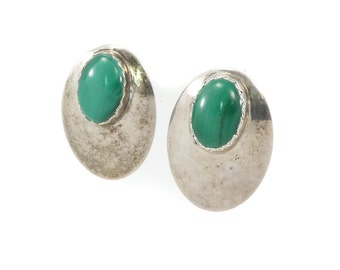 Vintage Malachite Earrings, Sterling Silver, Navajo, Posts, Signed MW, Marqueta McCray