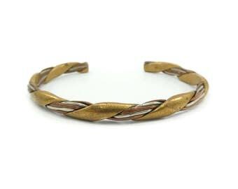 Vintage Sergio Lub Cuff Bracelet, Mixed Metals, Brass, Copper, Nickel Silver, Signed