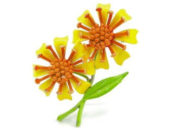 Vintage Yellow Flower Brooch, Enamel, Orange, Green