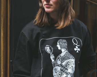 Queen Jumper Black Silk Screen-Printed Designer Sweatshirt Queen of Clubs Black and White