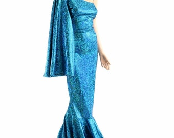 "Turquoise on Black Shattered Glass One Shoulder Fan Sleeve ""Sea Goddess"" Gown with Puddle Train 154079"