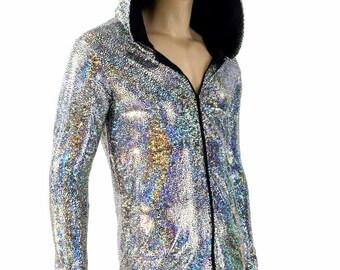 Mens Silver on Black Shattered Glass Holographic Long Sleeve Zipper Front Hoodie Shirt w/Black Zen Hood Liner Festival Burning Man 154141