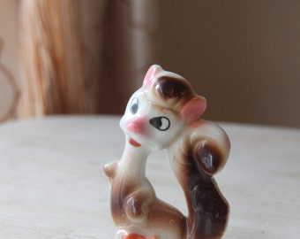 Ceramic Squirrel Figurine, Miniature, Porcelain, Made in Japan, Animal, Vintage, Mid Century, Cute, Sweet, Silly, Novelty (WTH-1542)