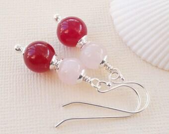 Pink earrings, jade earrings, rose quartz earrings, pink gemstone earrings, fuchsia pink earrings, gift for her, pretty pink earrings