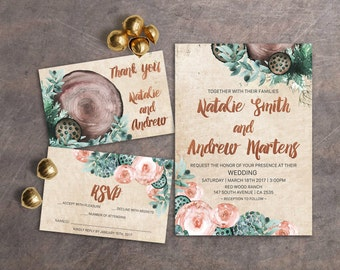 Copper Wedding Invitation Rustic, Printable Wedding Invitation Floral, Watercolor Wedding Invitation Boho, Fall Wedding Invitation Summer