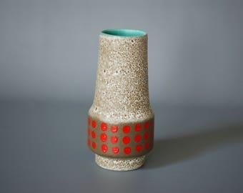 WEST GERMAN POTTERY Vase, Jasba Vase 153 23, Red Polka Dot Vase, Spotted German Vase, Spotted Jasba, Made in Germany, Red German Vase